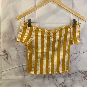 LA Hearts Mustard & White Stripes Scrunch Top